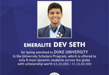 DEV SETH EMERALD HEIGHTS SCHOOL DUKE UNIVERSITY US